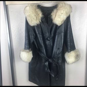 Vintage leather and fur collared & cuffs